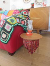 Petite table/travailleuse tripode en bois, métal et tissu