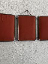 Miroir triptyque barbier orange vintage 1960 - 20 x 49 cm