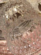 Suspension vintage  en verre moulé/rotin des années 60/70