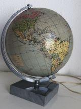Globe terrestre Taride marbre vintage 1940 - 28 cm