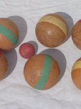 Jeu de  boules ancien en bois, vintage