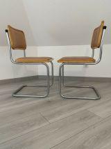 Paire chaises B32 Cesca skaï par Marcel Breuer vintage 1960