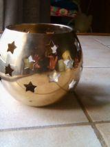 Photophore boule en laiton ajouré d'étoiles