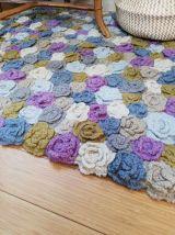 Tapis au crochet vintage pastel fait main
