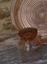 Set recomposé d'un plateau et 3 verres Art Déco rose  fumé