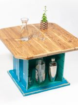 Table basse bleu-verte bois massif rangement intégré
