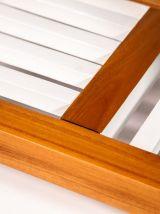 Table basse bois exotique plateau atypique effet béton