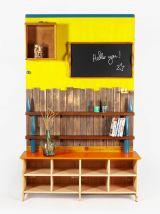 Étagère banc d'entrée colorée bois rustique tableau craie