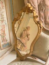 Miroir en composite à l'aspect bois du XXe siècle