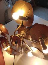 applique nénuphars 7 feux en métal doré