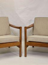 Paire de fauteuils style scandinave années 60 tissu chiné fa