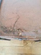 Malle ancienne en bois cuir