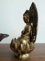 Statue ancienne Bouddha Amitāyus bronze