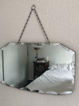 Miroir biseauté octogonal vintage 1930 - 55 x 32 cm