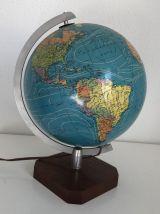 Grand globe terrestre verre Taride vintage 1977 - 36 cm