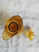 Lot vintage vase & carafe en verre jaune ambré
