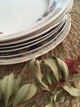 6 assiettes anciennes assorties et fleuries.