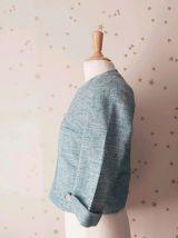Vintage années 60 tailleur jupe veste  turquoise XS