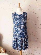 Vintage années 60 robe taille basse plissée soie marine