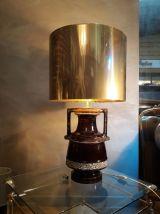 grande lampe amphore 1970s avec son abat jour en laiton mas