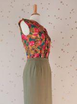 Vintage Emmanuelle Khanh années 90 jupe droite crèpe kaki