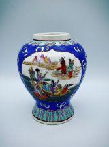 Vase Rond ancien , en Porcelaine de Canton , Bleu