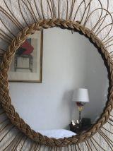 Grand miroir soleil fleur rotin vintage 1960 - 65 cm