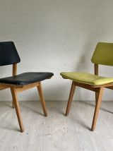 Ensemble de 6 chaises vintage 60's noires et vertes