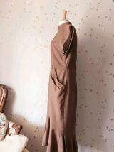 80s robe du soir mao volants beige M/L
