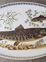 Beau service à poisson ancien en faïence de longchamp