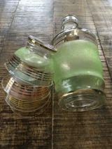 Carafe et coupelles verre granité années 50 art déco