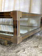 Table basse verre et métal chromé et doré – années 70