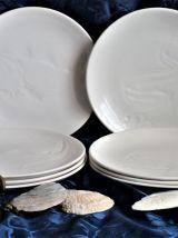 Assiettes à poisson blanches, assiette blanche scandinave.