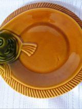 Service à poissons vintage, plat et assiettes à poisson.