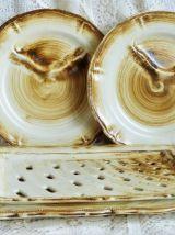 Plat à asperges Longchamp, service à asperges céramique grés