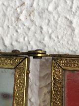 Miroir triptyque barbier laiton vintage 1900 - 27 x 66 cm