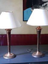 Paire de lampes cuivre et bois années 50