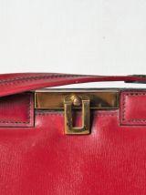 Elégant sac en cuir rouge bordeaux vintage années 50-60.