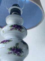 Lampe ancienne en faïence décor floral