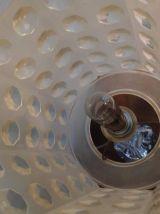 lampe vintage pied cristal et abat-jour plexi