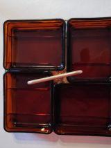 serviteur apéro 4 coupelles Vereco en verre fumé