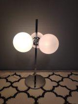 lampe 3 globes en opaline blanc mat