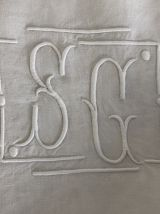 Drap brodé, monogramme, linge ancien
