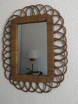 Miroir soleil rotin vintage 1960 - 48 x 38 cm