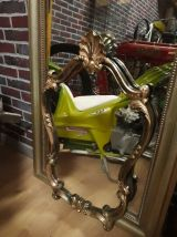 miroir style louis xv  fond  noir patiné  or  1970 en bonne