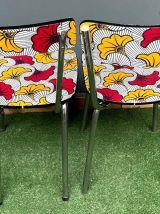 Chaises en formica recouvertes de WAX Fleur de mariage