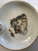 Assiette à bouillie chatons vintage