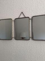 Miroir triptyque barbier jeune poussin vintage 1960 - 20 x 4
