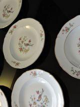 Service de 6 assiettes creuses, céramique, vintage
