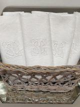 6 serviettes damassées avec monogramme